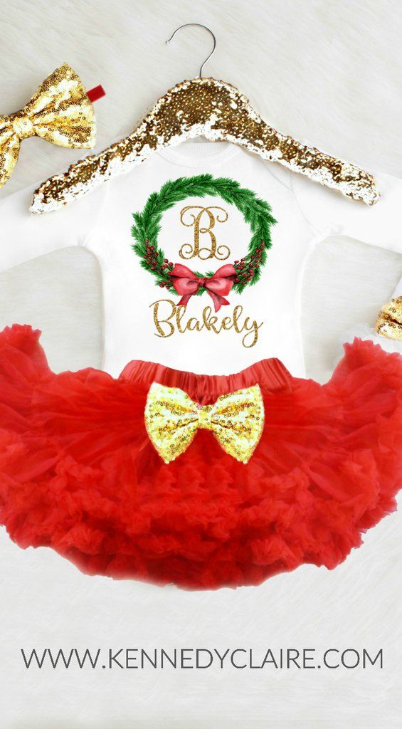 Personalized Girls Christmas Outfit Gift ideas for baby showers