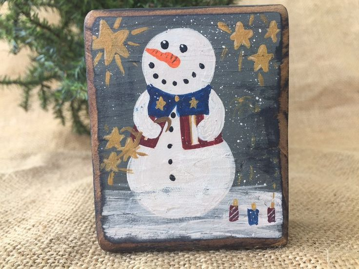 Primitive Country Americana Snowman Fireworks 4th July Shelf Sitter Wood Block #PrimitiveAmericana
