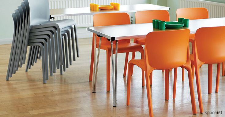 Pop Chair Orange And Grey Plastic Canteen Chairs