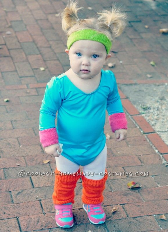 Cute Jane Fonda 80's Workout Costume for a Toddler