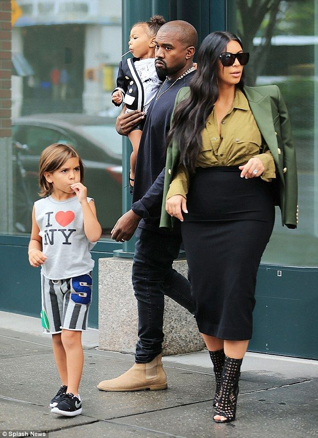 Helping out: Kim Kardashian and Kanye West took Kourtney's son Mason to New York over the weekend with their daughter North in the wake of Scott Disick's photo scabndal