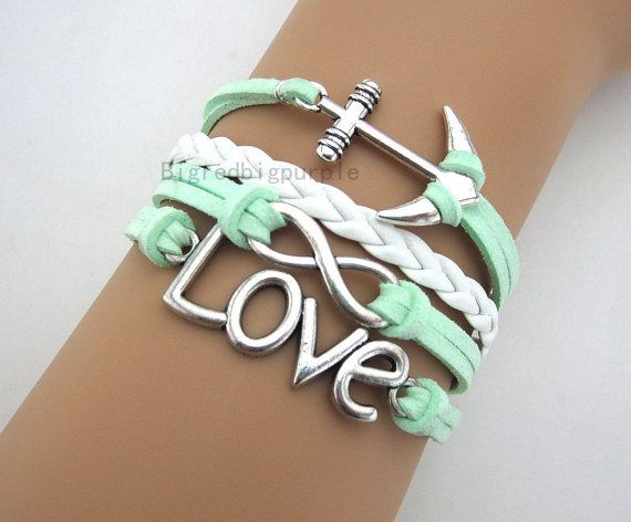 Mint green anchor ring bracelet,infinity bracelet, leather, Birthday gift, A3 on Etsy, $7.99