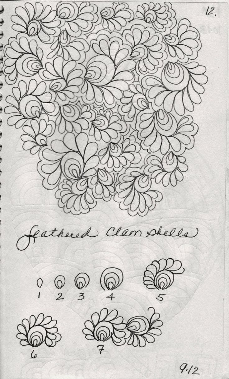 LuAnn Kessi: From My Sketch Book...12 feather clam shells tutorial