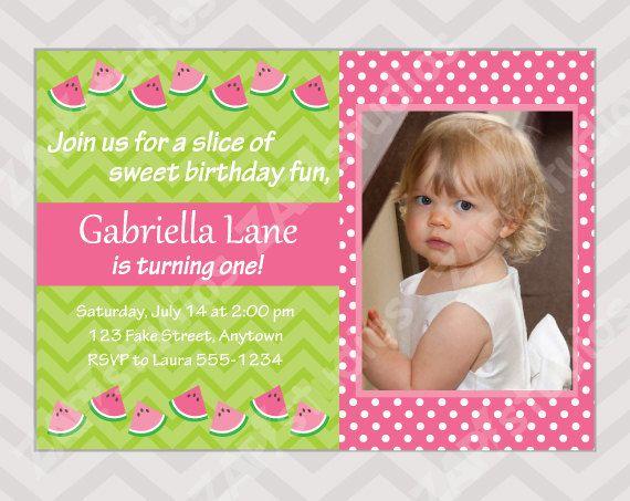 watermelon birthday invitation - summer birthday - summer party, Birthday invitations