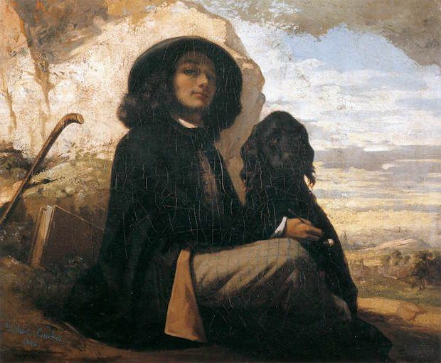 Gustave Courbet, Self-portrait with a black dog, 1841