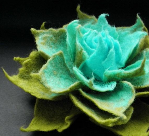 Aqua Apple Green Felt Flower Brooch Handmade by Brigite in Lithuania