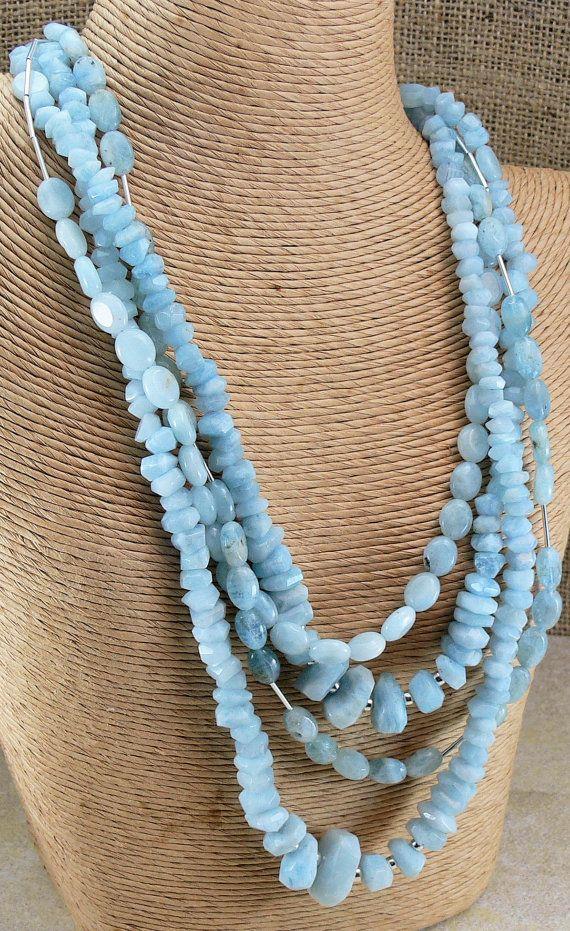 AQUAMARINE Gemstone Necklace Bracelet & Earring by MMDJewellery