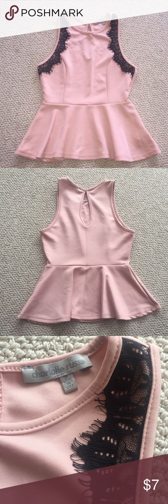 Peplum top Pink peplum top looks great with a black skirt or jeans. No damage Charlotte Russe Tops
