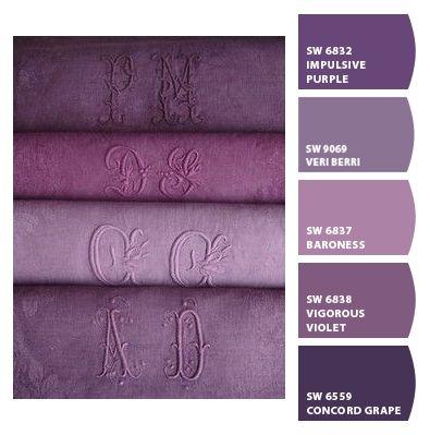 Purple monogrammed linens | CNH | ColorSnap