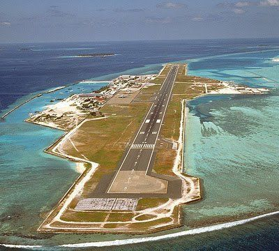 Johnston Atoll Airport, USA Built on a small island in the middle of the Pacific Ocean, a couple of hundred miles from Hawaii, this airport was a US military base for majority of the 20th century and home to 400 men with an underground hospital.  During WW2 Japanese submarines attacked the base.