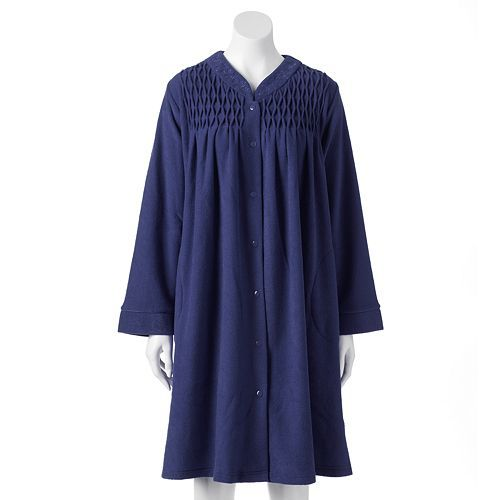 Miss Elaine Essentials Smocked French Terry Robe - Women's, CLEARANCE $16.20 Original $54.00