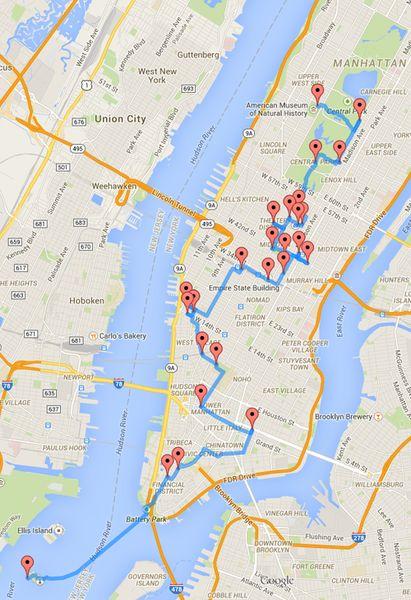 He aquí el tour perfecto a pie (con mapa). ¿Visitar Manhattan en tan s – Mi Viaje A Nueva York