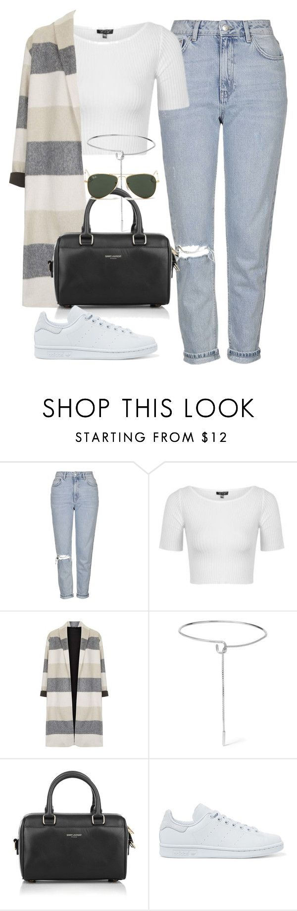 """Sin título #2078"" by camila-echi ❤ liked on Polyvore featuring Topshop, Eddie Borgo, Yves Saint Laurent, adidas Originals and Ray-Ban"