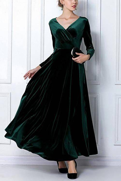Dark Green Wrap Front Velvet Maxi Dress  -YOINS