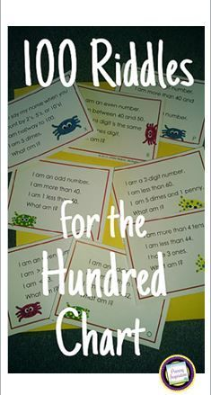 Build number sense and review skills with this set of 100 riddle cards for the numbers 1 to 100. Great for spiraled review of math concepts and vocabulary! Small group, whole group, or independent practice with odd/even, tens and ones, coins (pennies, nickels, dimes), and comparison signs for equalities and inequalities.  $   https://www.teacherspayteachers.com/Product/First-Grade-and-Second-Grade-Math100-Riddle-Cards-for-the-Hundred-Chart-191803