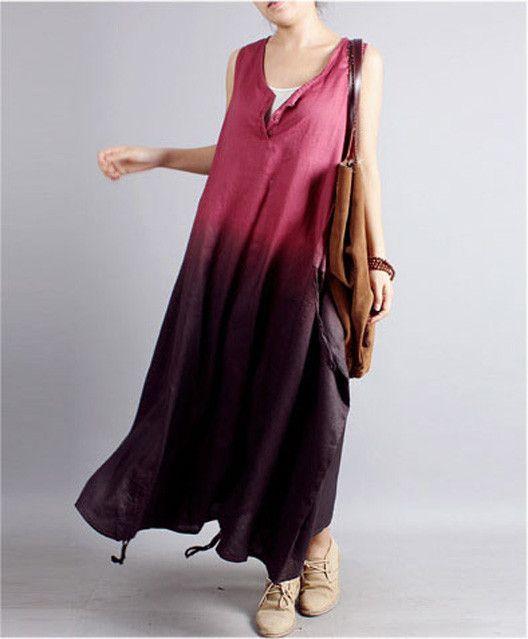 Linen Dress in Red