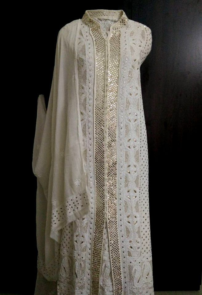 Pure Georgette Chikankari Sharara Suit with Heavy Golden Mukaish (Three Piece)