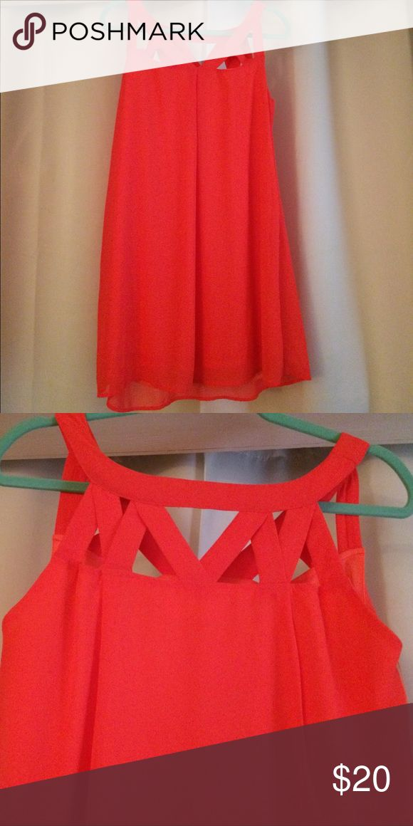 Neon Pink Boutique Dress Neon pink cutout boutique. NWT. Size small peach love Dresses