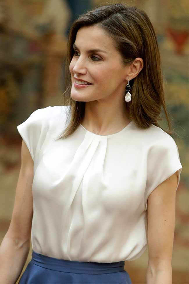 Queen Letizia of Spain attends the meeting with members of Princess of Asturias Foundation at El Pardo palace on June 16 2017 in Madrid Spain