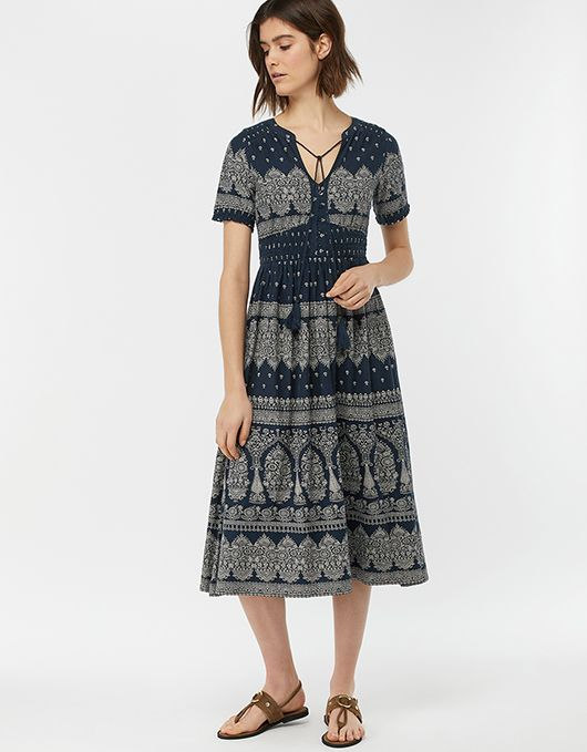 0a00a340a2 Hatty Heritage Print Dress | Navy | 12 | 6452856112 | Monsoon | The ...
