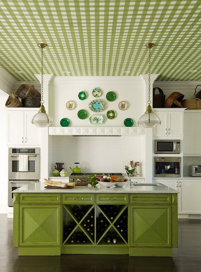 Green Island!: Wine Racks, Idea, Kitchens Design, Color, Green Kitchens, Ceilings, House, Kitchens Cabinets, White Kitchens