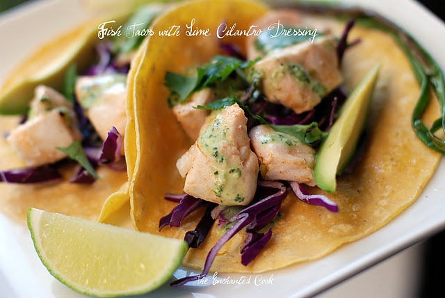 ... easy fish tacos...baked not fried with cilantro lime sauce.....yum