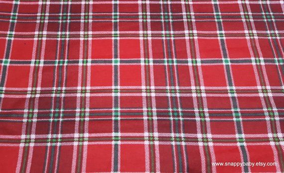 Christmas Flannel Fabric - Holly Plaid - By the yard - 100 Cotton