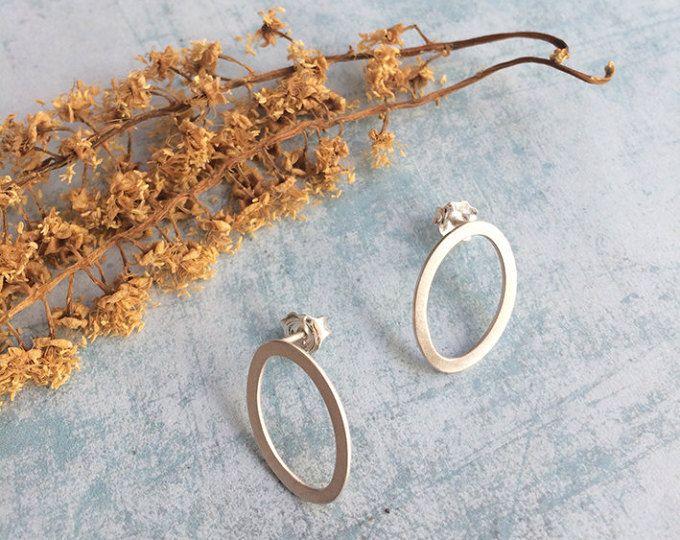 Sterling silver stud earrings - geometric minimalist earrings  - open oval stud earrings  Handmade by Carla Amaro