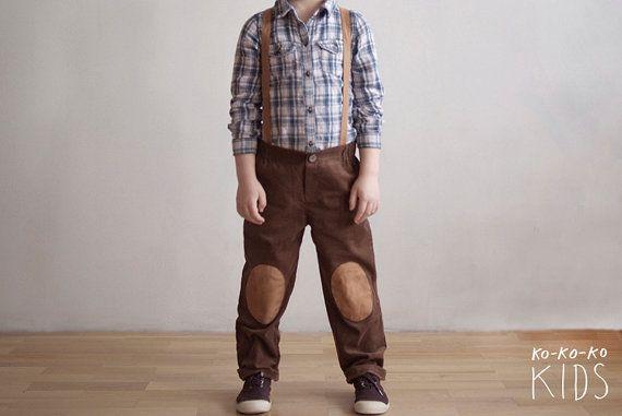 BROWN  Knee Patch Corduroy Pants With Suspenders. by kokokoshop, $42.00