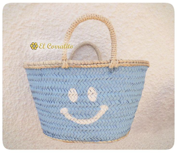 Capazo PEQUEÑO SMILE azul.