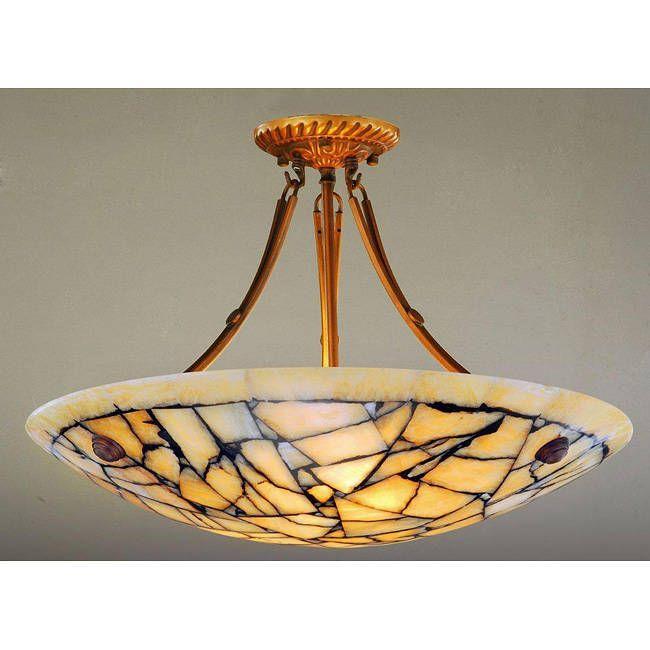 Alabaster Stone Five Light 60 Watt Ceiling Lamp Yellow Bronze