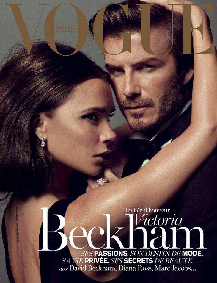 Victoria and David Beckham na capa  da Vogue Paris dezembro/janeiro