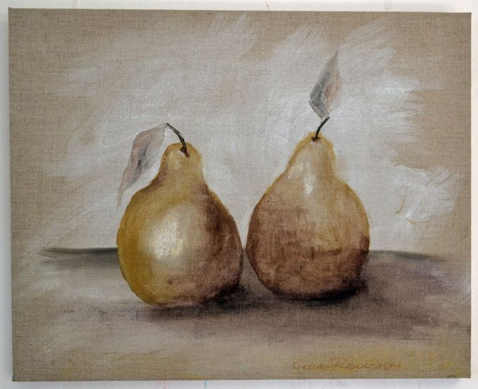 A Pair of Pears.  $220. Charcoal on linen.  Out of the Box Biz Art