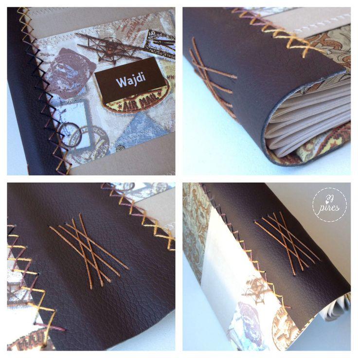 Diário de viagem com capa em papelão cinza revestida em tecido e couro na lombada. Capa bordada em X e costura romanesca. Diary book romanesque stitch bookbinding. #tepires
