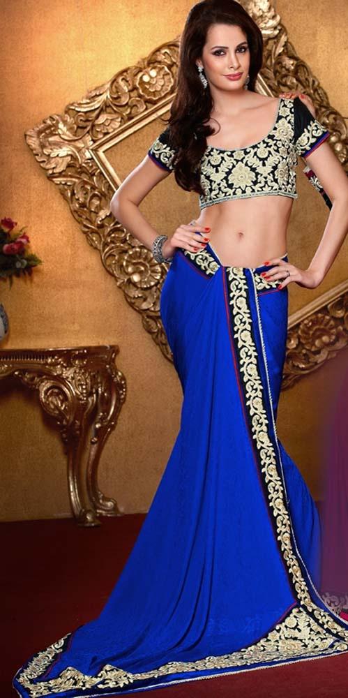 Flattering Royal Blue Saree, Royal Blue, Jacquard