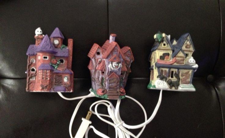 Set Of 3 Ceramic Light Up Halloween Haunted House