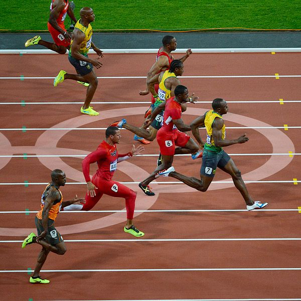 Epic 100m final with Justin Gatlin, Tyson Gay & Ryan Bailey of Team USA and Usain Bolt, Johan Blake & Asafa Powell of Jamaica.