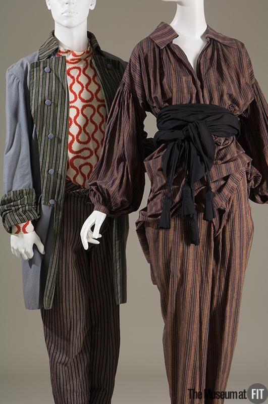 Malcolm Mclaren and Vivienne Westwood multicoloured striped cotton and black cotton set, fall 1981 UK. Malcolm Mclaren and Vivienne Westwood for Worlds End cotton flannel men's suit, 1980 UK. Museum at FIT New York.