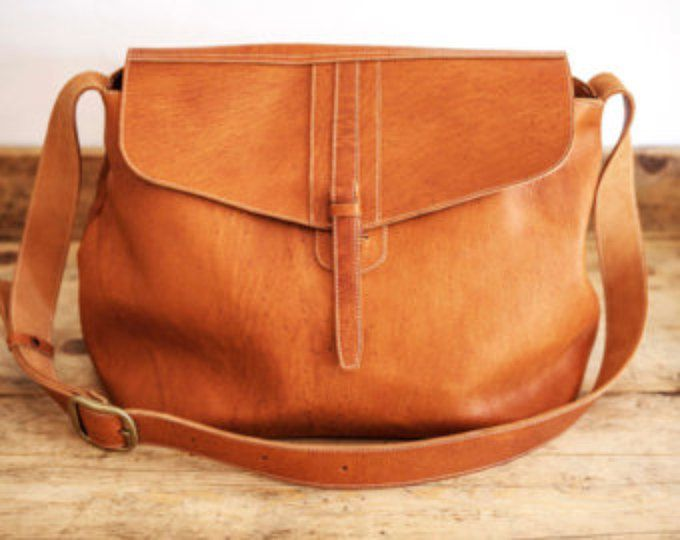 SATCHEL Leather Bag // Big Leather handbag // Brown coach leather bags // Messenger Tote bag ORGANIC XL