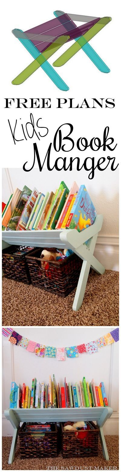 DIY Book Caddy Manger for kids book storage and organization {The Sawdust Maker