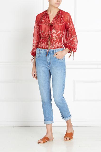 Полупрозрачная блузка Etro - Прозрачная алая блузка итальянского бренда Etro — универсальная вещь для вечернего или элегантного casual-образа, несмотря на яркий цвет в интернет-магазине модной дизайнерской и брендовой одежды