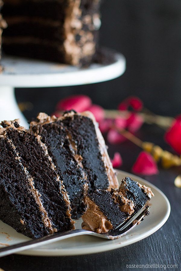 Dark and rich, this Dark Chocolate Cake with Nutella Buttercream is the perfect centerpiece for your Halloween party.