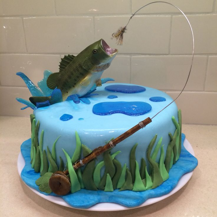 Fly fishing cake for my hubby! Bass jumping out of water