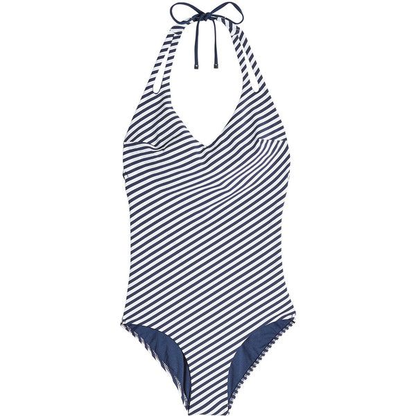 Heidi Klum Striped Swimsuit ($189) ❤ liked on Polyvore featuring swimwear, one-piece swimsuits, stripes, beach bathing suits, beach swimsuits, heidi klum swimsuit, swim costume and swim suits