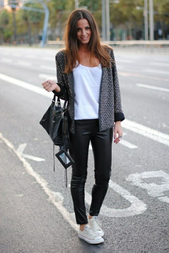 Women S Business Attire Smiling Brunette In Black Leather Skinny Trousers And White Top With Dark Grey Cardigan Bag Sneakers