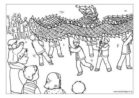 Dragon dance colouring page pdf