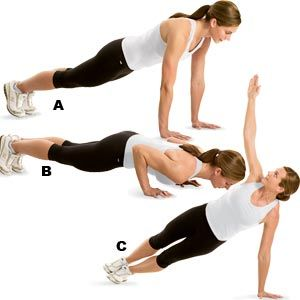 T-Pushups: Get into pushup position with feet together and hands shoulder-width apart (A). Lower yourself until your chest is 2 to 4 inches off the floor (B). As you push back up, lift your right arm straight up and rotate your body to the right until you form a T, balancing on your left hand and the outside of your left foot (C). Return to the top of the pushup position and repeat to the opposite side. That's 1 rep. Continue alternating to complete the set. Do 3-4 sets of 4 reps with 90…
