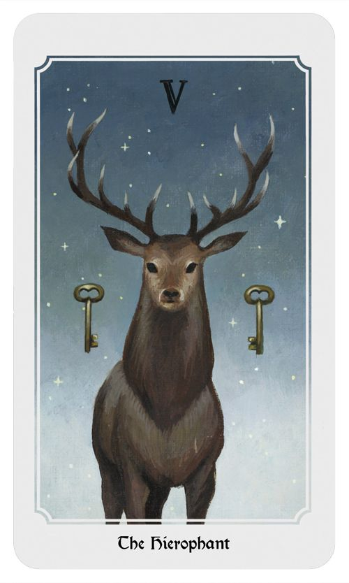 The Hierophant: Religion, conforming, tradition, education, group identity. From the Anima Mundi tarot deck.