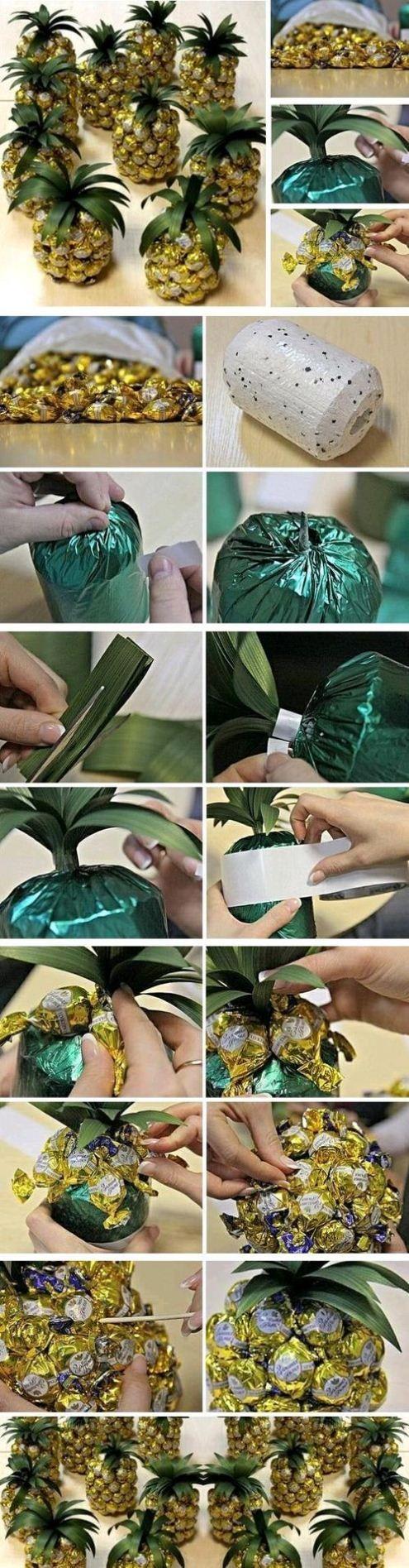 No le damos ni una pista de lo que es este #regalo! How to craft a pineapple with chocolate bonbons