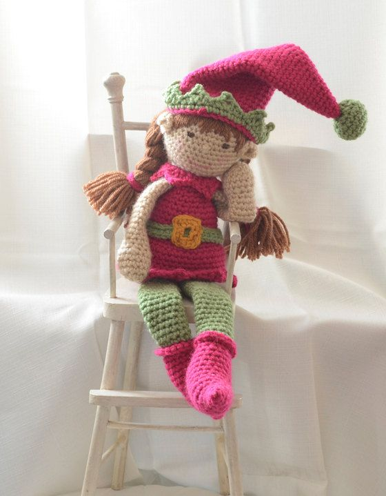 Crochet your own elf to display on a shelf or anywhere in your home.  She makes a great playmate!  And instructions include how to make as a 'boy' elf too!